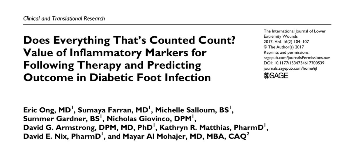 Does everything that's counted count? The value of inflammatory markers in diabetic foot infections